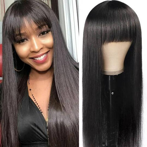 Sunber 13 By 4 Transparent Lace Front Wigs With Chic Bangs Straight Human Hair Wigs Pre plucked Hairline For Women