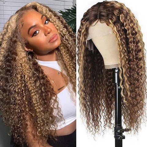 Honey Blonde Highlight Piano Color 13x4 Lace Front Long Curly Human Hair Wigs