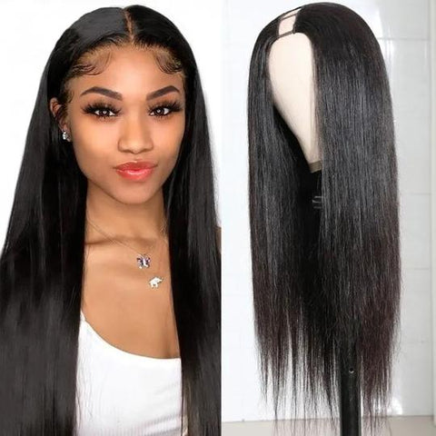 Sunber U Part Human Hair Wigs Brazilian Soft Silky Straight 150% Density Glueless Middle Part Wig Pre Plucked For Women Natural Color