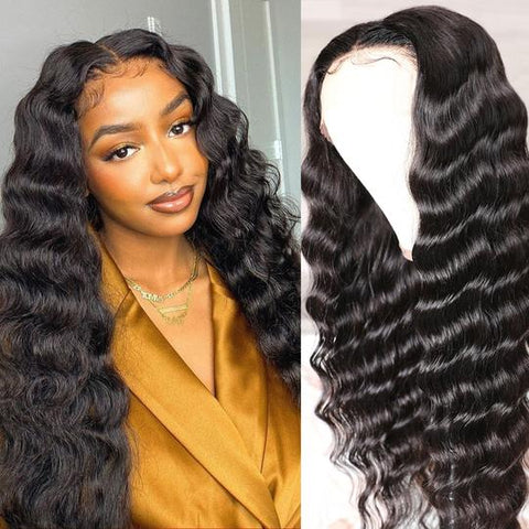 Natural Color Loose Deep Wave Transparent Lace Front Wigs With Baby Hair