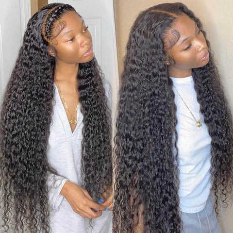 Sunber High-Quality Water Wave Transparent Lace Front Wigs Natural Hairline with Baby Hair 100% Human Hair Wigs