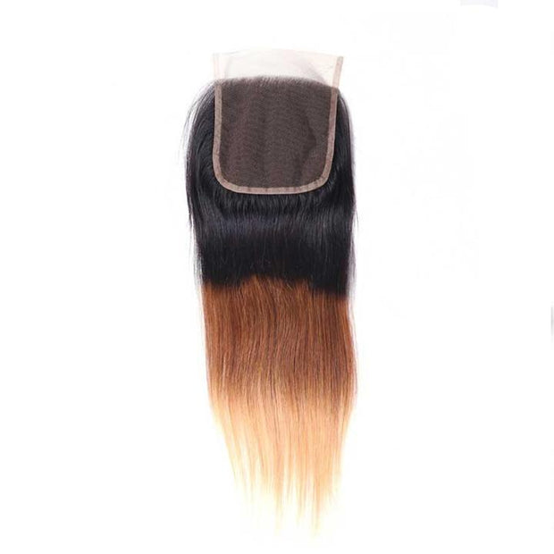 Ombre T1B/4/27 Human Hair Lace Closure 4*4 Straight Hair Closure