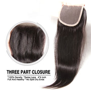 Indian Virgin Hair Silky Straight Hair 3 Bundles With 4x4 Lace Closure, 7A Human Hair Weaves - Sunberhair