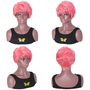 Sunber Pink Curly Human Hair Short Pixie Wigs With Side Part 150% Density 8 Inch