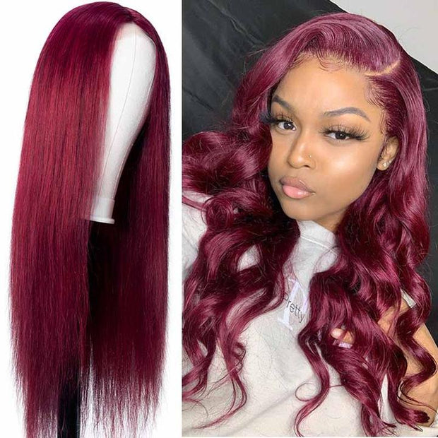 $94.99 Flash Sale For 4x4 Lace Closure Wig Hand-tied Lace Part Wig Natural Hairline Long Straight Hair 99J Burgundy Color Hair Wig
