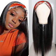 Sunber No Glue & No Sew In Fashion Headband Wig 150% Density Straight Scarf Wigs Real Hairline for Women 100% Virgin Human Hair Wig