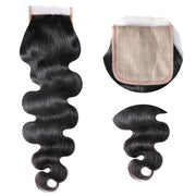 Sunber 4x4 Fake Scalp PU Lace Silk Base Lace Closure Pre-Plucked Body Wave Free Shipping