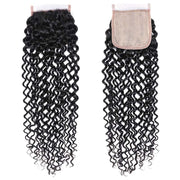 Sunber Jerry Curly 4x4 Fake Scalp PU Silk Lace Closure with 3 Bundles Curly Human Hair Extensions