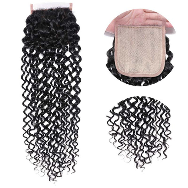 Sunber 4x4 Fake Scalp PU Silk Lace Closure Jerry Curly Hair Closure Pre-Plucked with Baby Hair