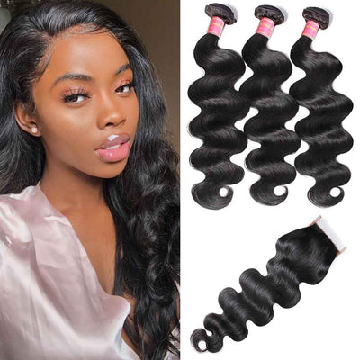 Sunber 4x4 PU Silk Lace Closure Fake Scalp Body Wave Closure with 3 Bundles 100% Virgin Human Hair