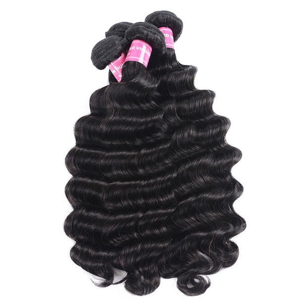 Sunber Hair 100% Unprocessed Human Virgin Hair 4 Bundles Loose Deep Wave Hair