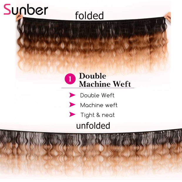 "Sunber Hair 1 Bundle Ombre Body Wave Hair #T1b/4/27 Ombre Brown Virgin Hair Bundle 16""-26"""