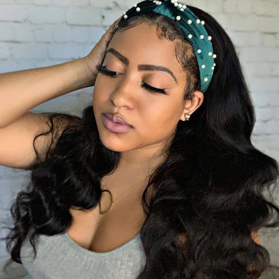 Points Reward Body Wave Scarf Wigs 150% Density 14 Inches No Glue & No Sew In Fashion Headband Wig