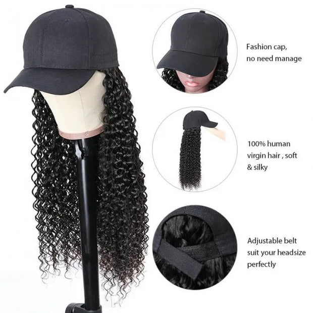 Sunber Baseball Cap Wig Long Curly Hair Wig Naturally Connect Human Hair Hat Wig Adjustable For Women Quick & Easy Wig