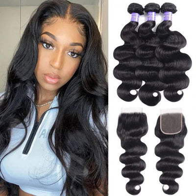 Sunber New Remy Human Hair Natural Black Brazilian Body Wave Hair 3 Bundles With Closure Pre Plucked