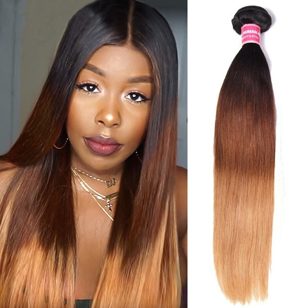 "Sunber Hair Ombre Straight Hair Weave 1 Bundle T1B/4/27 Color 16""-26"" Peruvian/Malaysian/Brazilian Hair Weave"