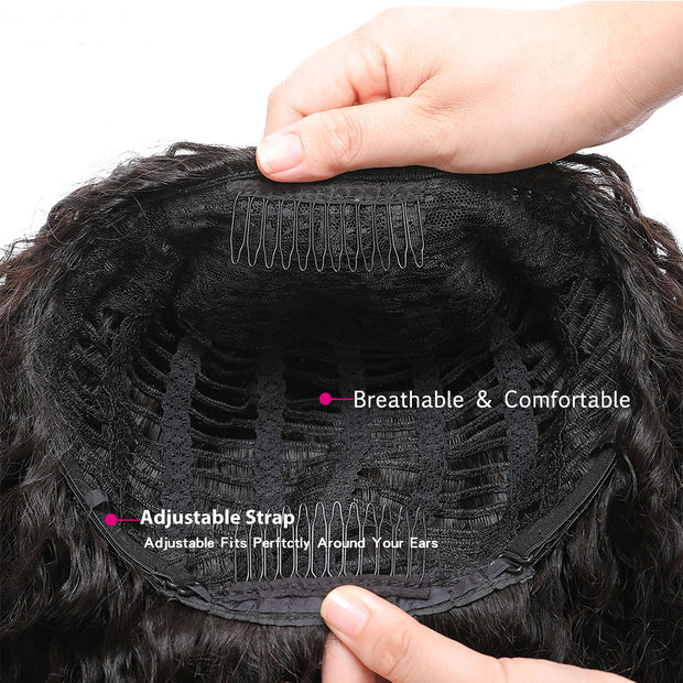 Sunber High-Quality Jerry Curly Human Hair Half Wigs Glueless Wigs with Random Gift Headband