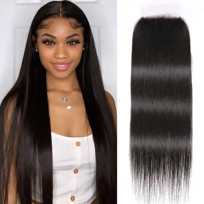 Sunber 5x5 HD Lace Closure Straight Hair Deep Parting Transparent Lace Closure Invisible Knots Human Hair Closure