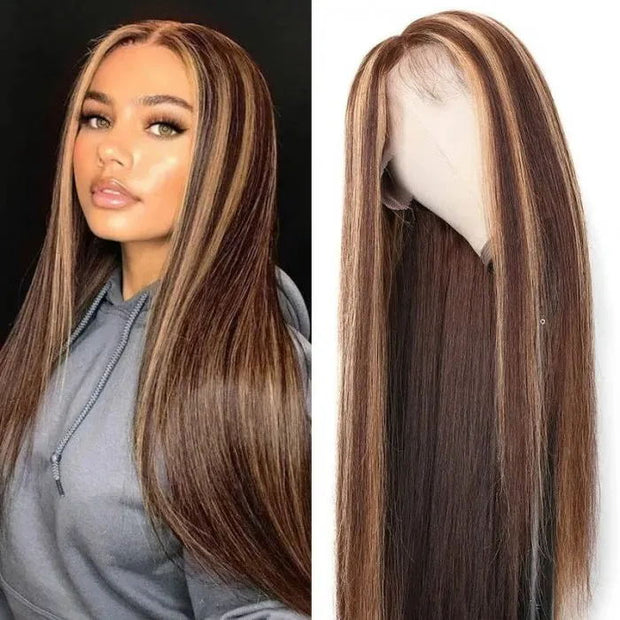 Sunber Blonde Highlight Piano Color 13x4 Straight Lace Front Human Hair Wigs With Baby Hair For Women Fast Shipping