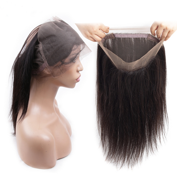 Sunber Virgin Straight Hair 360 Full Lace Frontal Closure Unprocessed Human Hair Frontal