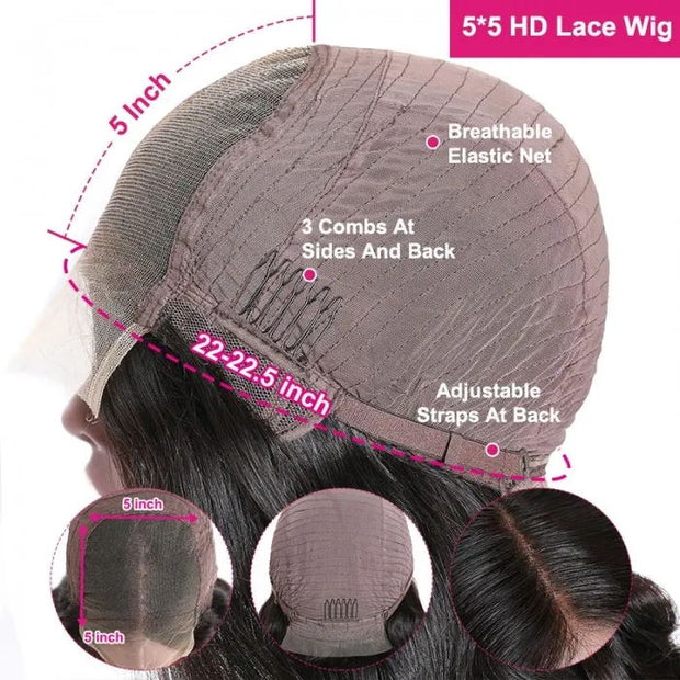 Sunber 5x5 HD Lace Closure Wigs Pre Plucked Jerry Curly Hair Invisible Lace Closure Wigs Human Hair 180% Density