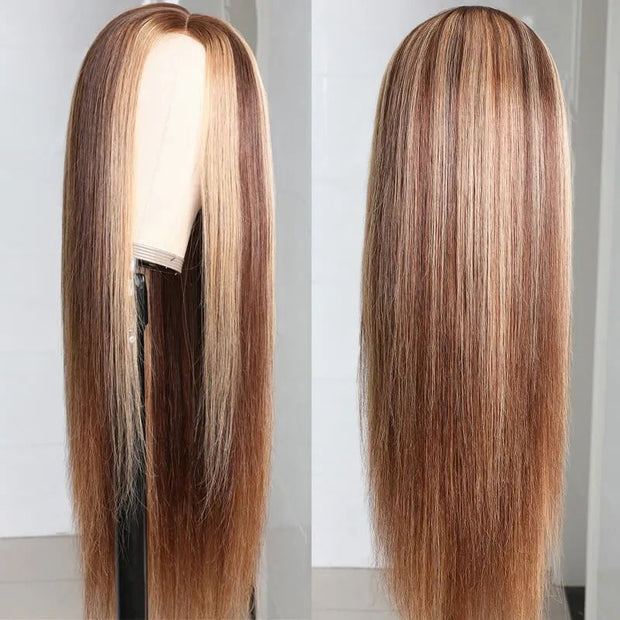 Sunber PU Silk Lace Base Fake Scalp Honey Blonde Highlight Piano Color Long Straight Human Hair Wig 150% Density