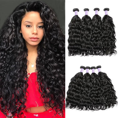 Sunber Remy Human Hair Weaves Natural Wave 4 Bundles 100% Human Hair Natural Black Color