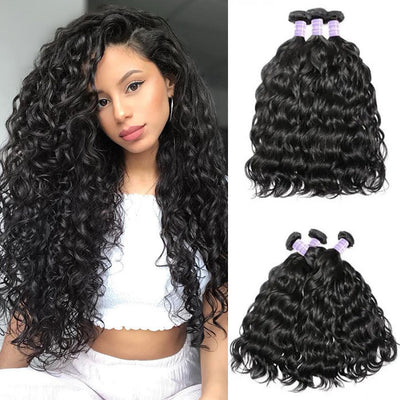 Sunber Hair Brazilian Natural Wave Remy Human Hair Weaves 3 Bundles Natural and Comfortable for Black Women