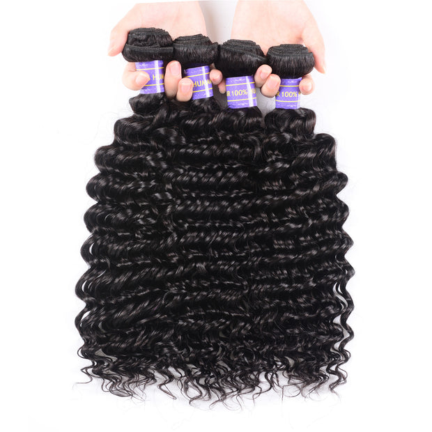 Sunber Hair New Remy Human Hair Peruvian Deep Wave Weaves 4 Bundles 100% Human Hair Bundle Deals