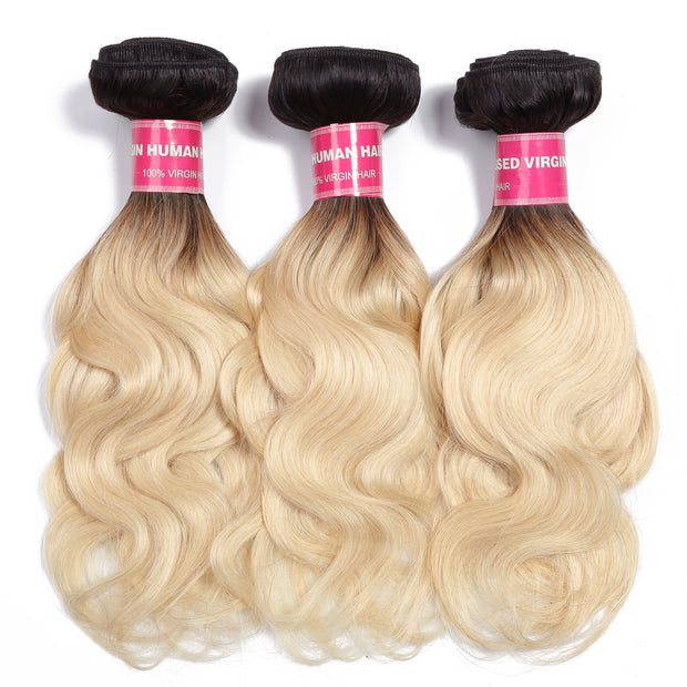 Sunber Hair Body Wave 3 Bundles T1b/613 Color Ombre Hair 100% Virgin Human Hair Weaves