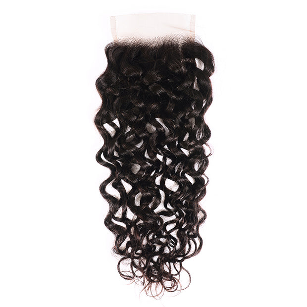 Sunber1 PC 4*4 New Loose Water Wave Lace Closure Free Part, 100% Human Hair