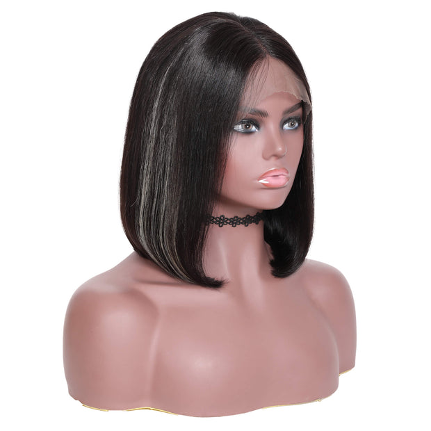 Sunber Short Bob Straight Wigs With Highlights 13*4 Lace Front Human Hair Wigs For Black Woman