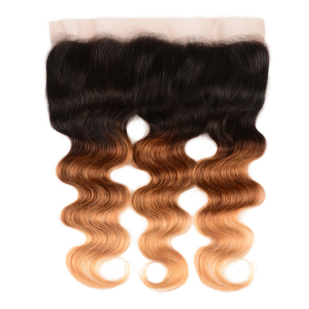 Ombre T1B/4/27 13*4 Body Wave Human Hair Lace Frontal, 100% Human Hair