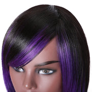 Sunber Highlight Purple Color Layered Bob Wigs With Side Bangs Straight Hair Glueless Wig 150% Density