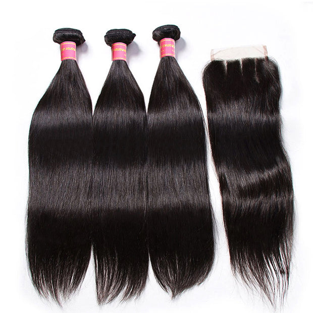 Sunber Hair Brazilian Virgin Hair Silky Straight Hair 3 Bundles With 4x4 Lace Closure, 7A Human Hair Weaves
