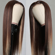 Sunber Highlight Brown Chocolate D427 Color Long Straight Hand Tied Lace Part Wig100%  Human Hair Wigs
