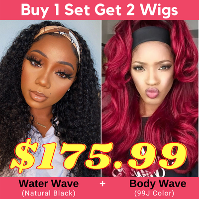 Buy 1 Get 2 Headband Wigs In Burgundy 99J Body Wave and Natural Black Water Wave Wigs IG Flash Sale Wigs Bulk Sale with 4 Gifts
