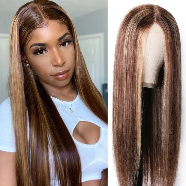Sunber Blonde Highlight Piano Color 4x4 Lace Closure Wig Human Hair Hand Tied Lace Part Wig Long Straight Hair 150% Density