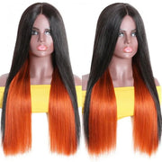Sunber Long Straight Human Hair Wigs Underlight Ginger Orange Color Hair Wigs PU Silk Lace Fake Scalp Wigs