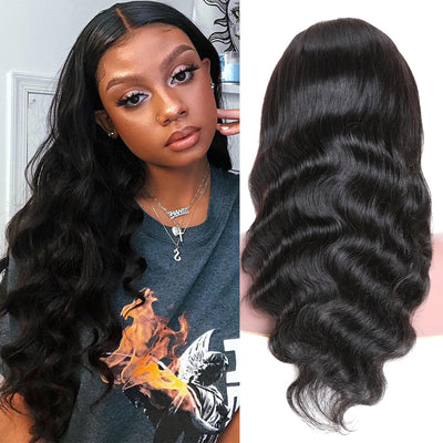 Sunber Hair Natural Hairline Pre Plucked Body Wave Remy Human Hair Wig Natural Black Color 4*4 Lace Closure Wig 150% Density