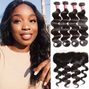 100% Peruvian Body Wave Hair 4 Bundles with 13*4 Lace Frontal, 7A Sunber Human Hair