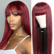 Sunber 99J Wine Red Silk Straight Human Hair Wig with Bangs Burgundy Colored Wigs Glueless Machine Made Human Hair Wigs