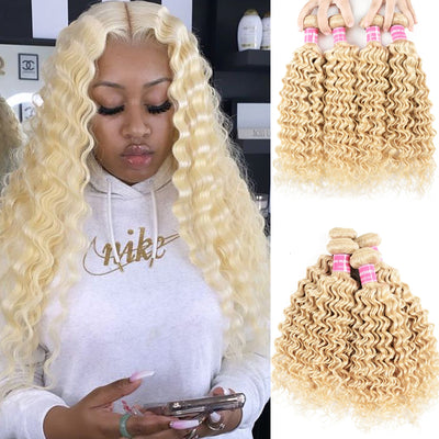 Sunber 4 Bundles 613 Deep Wave Hair Double Hair Weft, 100% Human Hair