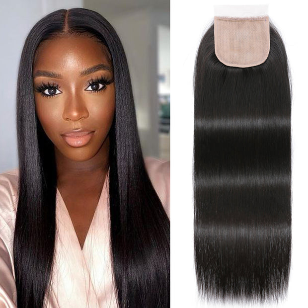 Sunber 4x4 Fake Scalp PU Silk Lace Closure Straight Pre-Plucked Natural Lace Closure Good Quality