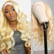 Sunber High-quality 613 Blonde Color Headband Wig Natural Wave Glue-less Human Hair Wigs with Hair Scarf Gifts