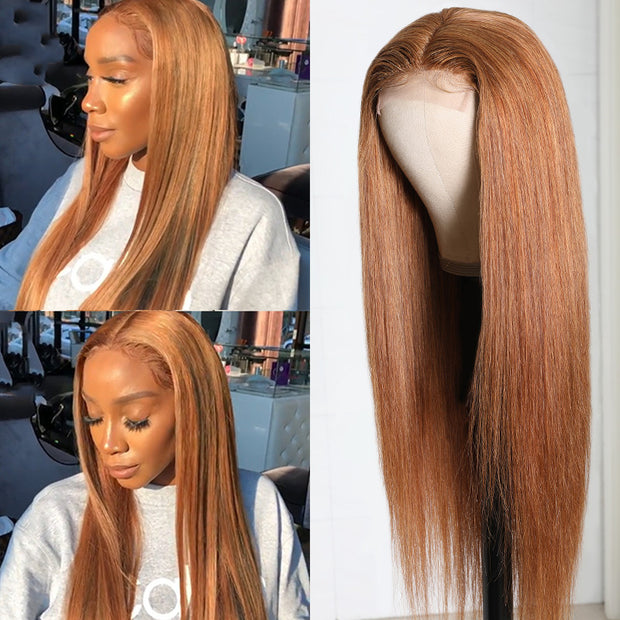 Flash Sale For Trendiest Highlight Ginger Brown 8# Color Hand Tied Lace Part Human Hair Wigs Low to $85