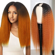 Sunber T1B30 Ombre Color 4x2 Size U Part Wig Kinky Straight Glueless Human Hair Wigs 180% Density Free Shipping