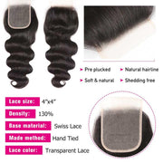 Body Wave Hair 4 Bundles With 4*4 Transparent Lace Closure, 100% Human Virgin Hair Bundles