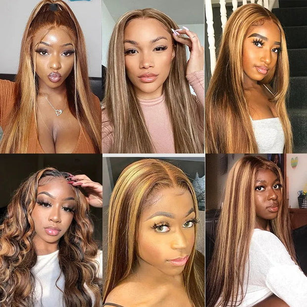Sunber Blonde Highlight Piano Color 4 By 4 Lace Closure Wig Human Hair Hand Tied Lace Part Wig Long Straight Hair 150% Density