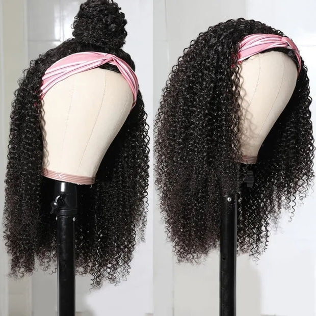 Sunber Afro Curly Hair Half Wig For Black Women 150% Density Kinky Curly 3/4 Half Wig with Random Gift Headband